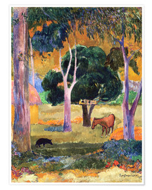 Premiumposter Landscape with a Pig and a Horse (Hiva Oa)