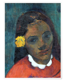 Poster Head of a Tahitian woman listening Flower