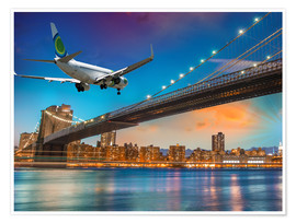 Premiumposter  Aircraft flying over Brooklyn Bridge in New York