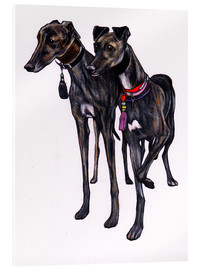 Akrylglastavla  Brindle greyhounds - Jim Griffiths