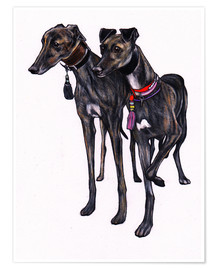 Premiumposter  Brindle greyhounds - Jim Griffiths