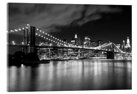 Akrylglastavla  Brooklyn Bridge - Night scene