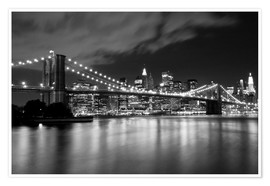 Premiumposter Brooklyn Bridge - Night scene