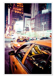 Premiumposter  Yellow Cabs and city lights
