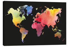 Canvastavla  World map in water color