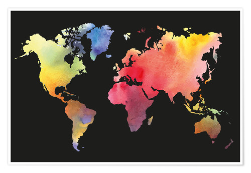 Premiumposter World map in water color