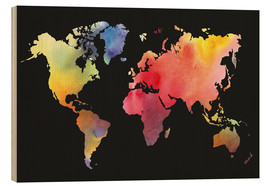 Trätavla  World map in water color