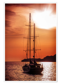 Premiumposter  Old ship sailing to the sunset