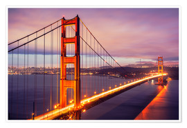 Premiumposter  Golden Gate Bridge i skymmingen, San Francisco