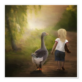 Premiumposter Little girl with goose