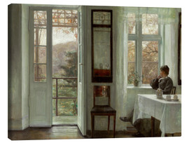 Canvastavla  Woman of the artist at a window - Carl Holsøe