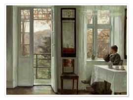 Premiumposter  Woman of the artist at a window - Carl Holsøe