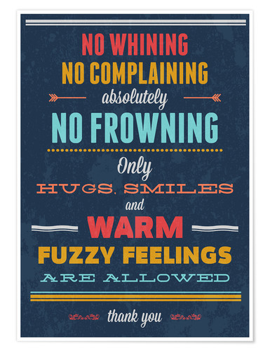 Poster No Whining only Hugs