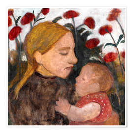 Poster Young woman with child