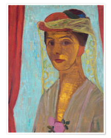 Premiumposter Paula Modersohn-Becker with hat and veil