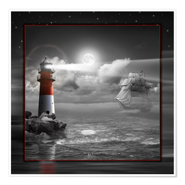 Premiumposter Lighthouse and Sailboat in the Moonlight