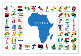 Premiumposter  African Countries with Flags