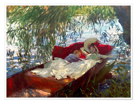 Poster Lady and boy, in a boat under pastures