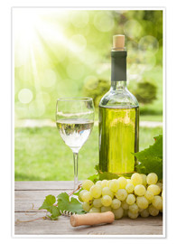 Premiumposter White wine glass and bottle