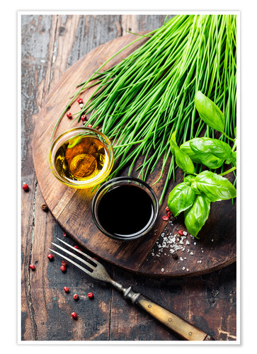 Premiumposter Herbs and spices on wooden board