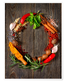 Premiumposter  wreath of spices and herbs