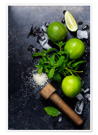 Poster  Mojitos (ice cubes, mint, sugar and lime)