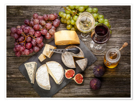 Premiumposter  Wine and cheese still life
