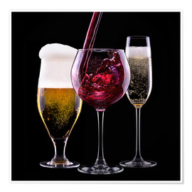 Poster  drinks - beer, wine and champagne