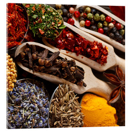 Akrylglastavla  Colorful spices and herbs