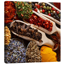Canvastavla  Colorful spices and herbs