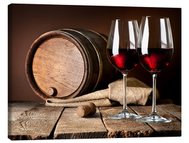 Canvastavla  Barrel and wine glasses with red wine