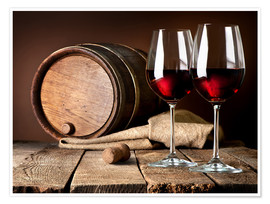 Premiumposter  Barrel and wine glasses with red wine