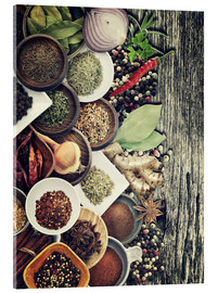Akrylglastavla  Spices And Herbs On Rusty Old Wood