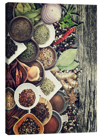 Canvastavla  Spices And Herbs On Rusty Old Wood