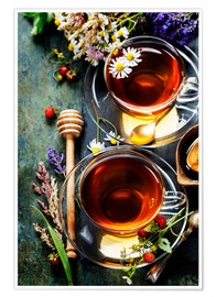 Premiumposter  Herbal tea with honey, berry and flowers