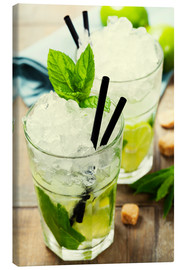 Canvastavla  Mojito cocktail with ingredients
