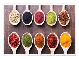 Poster  Spice powder in wooden spoons