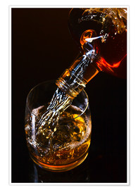 Premiumposter  whiskey and ice on a glass table