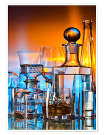 Premiumposter  alcoholic drinks on glass table