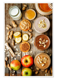 Premiumposter  peanut butter smoothie with chocolate, apples, banana and oats