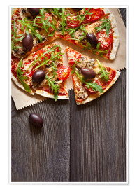 Premiumposter  Pizza with mushrooms and arugula