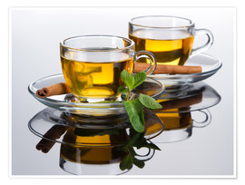Premiumposter  Tea cup with fresh mint leaves