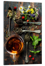 Akrylglastavla  Tea with honey, wild berries and flowers