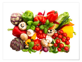 Premiumposter  fresh vegetables and herbs on white