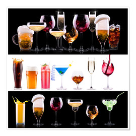 Premiumposter  drinks - beer, wine, cocktail, juice, champagne, scotch, soda