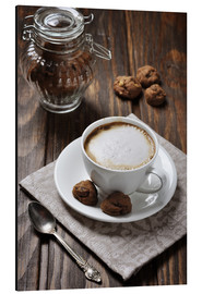 Aluminiumtavla  Cup of coffee with cookies