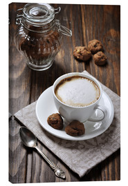 Canvastavla  Cup of coffee with cookies