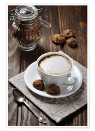 Premiumposter  Cup of coffee with cookies