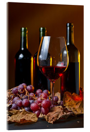 Akrylglastavla  red wine with grapes and vine leaves