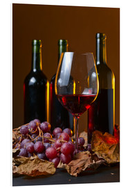 PVC-tavla  red wine with grapes and vine leaves